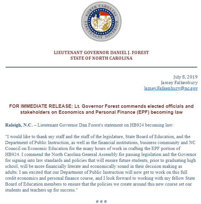 Lieutenant Governor Dan Forest's statement on HB924 becoming law.